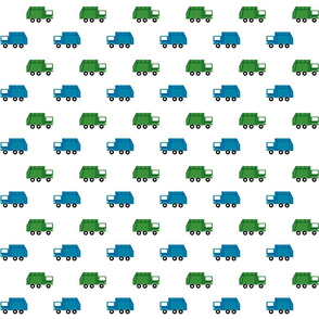garbage trucks in a row - green and blue
