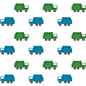 garbage trucks in a row LARGE6 - green and blue