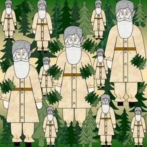 Woodland Santa, Trees & Stars Fabric #3