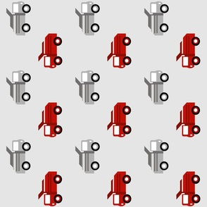 trucks in a row on gray VERTICAL  LARGE6 - red and dark gray