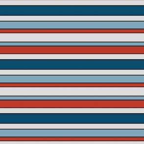 retro red, blue and gray stripes