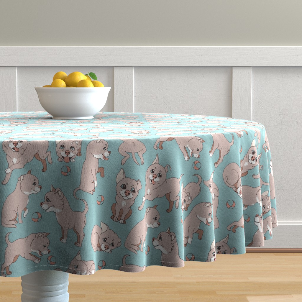 Malay Round Tablecloth featuring dogs pastel color by minyanna