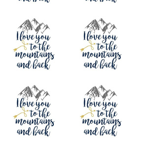 8 Inch - Love you to the Mountains and Back - Navy/Mustard