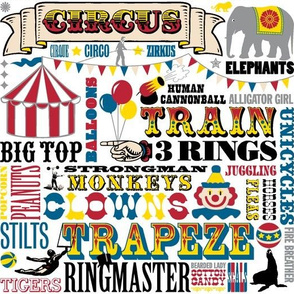 At the Circus || carnival western tent balloons elephant typography woodtype bunting clown kids baby children nursery