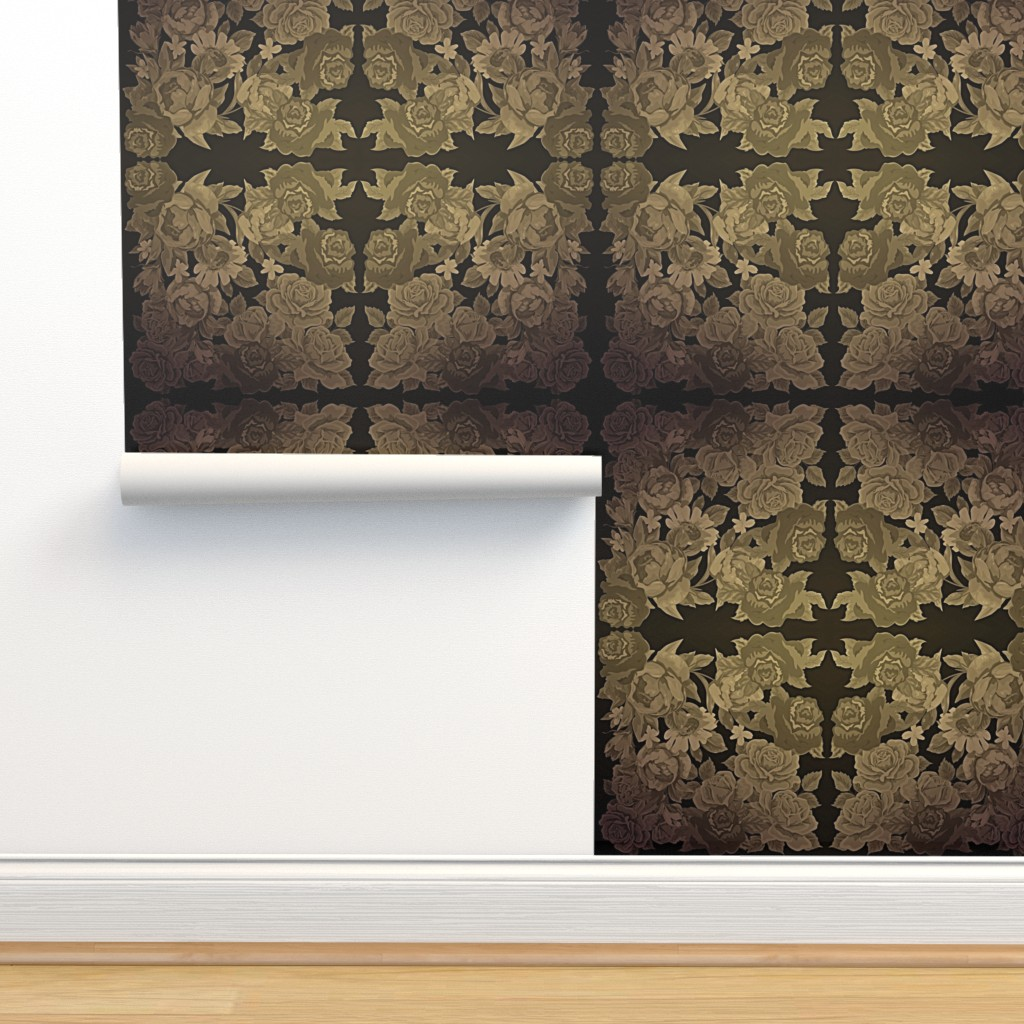 Isobar Durable Wallpaper featuring camo roses-orange/brown gritty by kae50