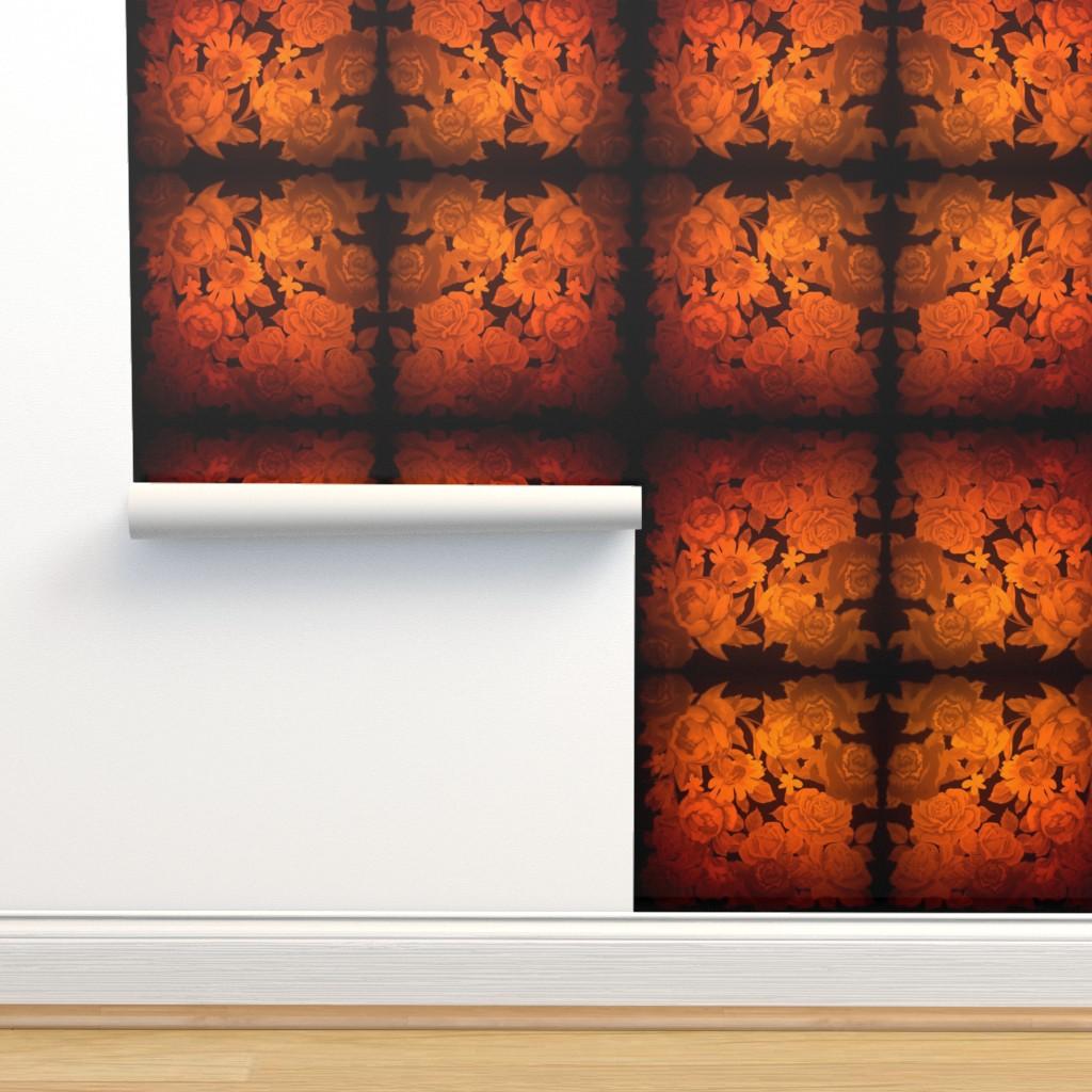 Isobar Durable Wallpaper featuring camo roses-orange/brown lomo by kae50