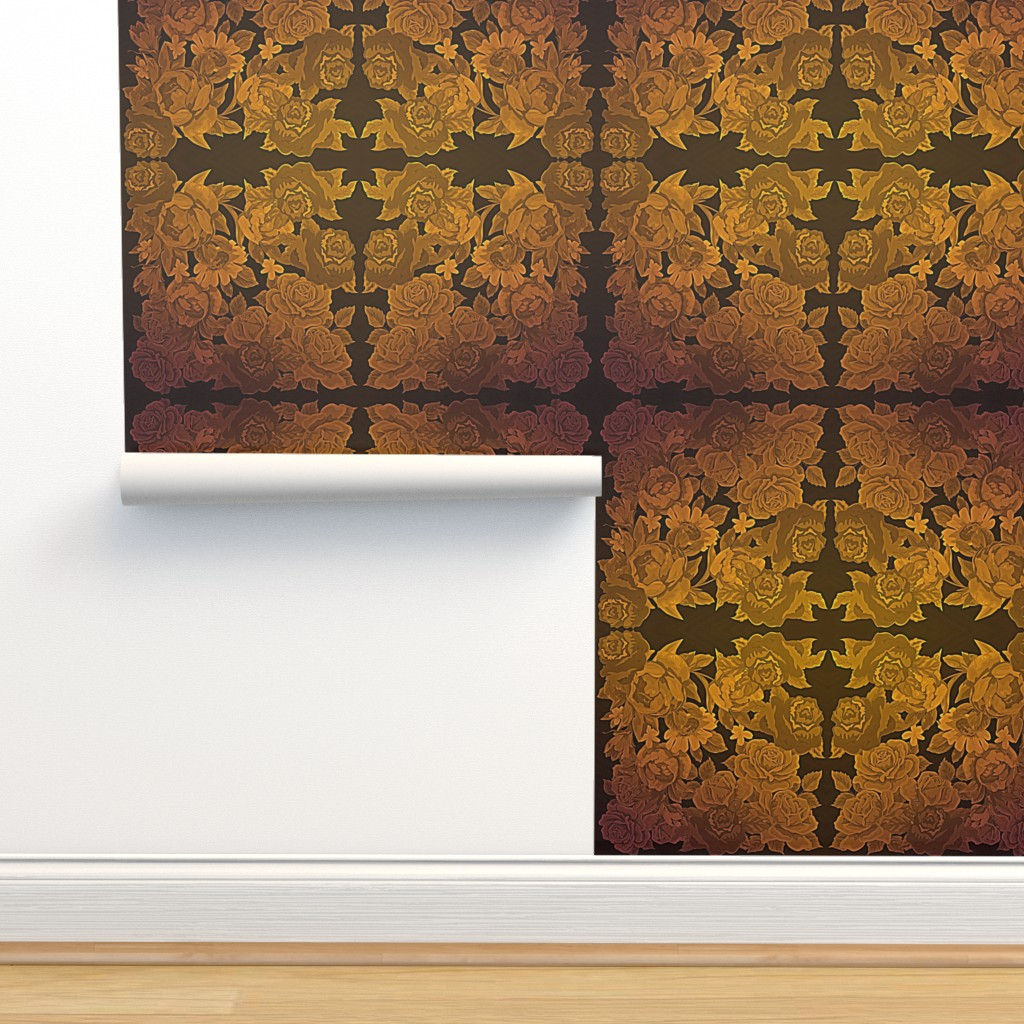 Isobar Durable Wallpaper featuring camo roses-orange/brown HDR by kae50