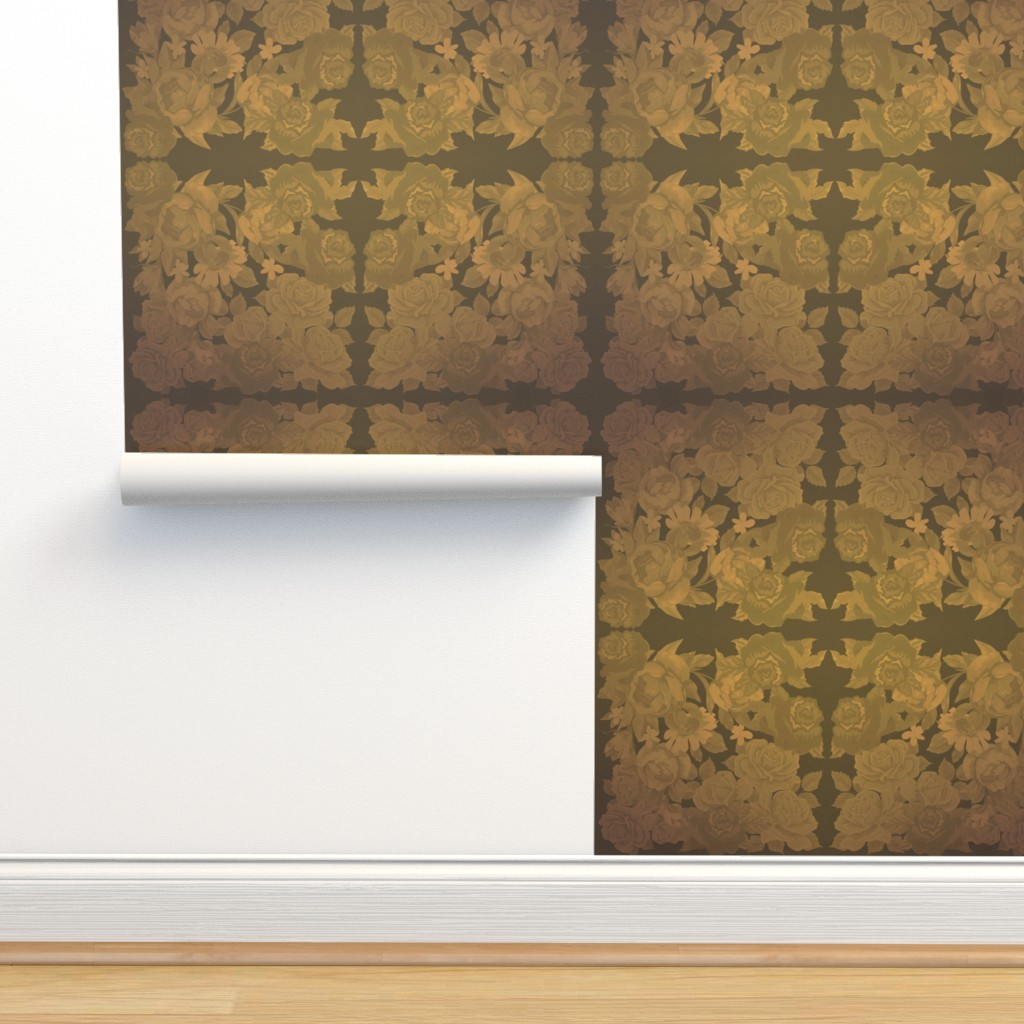 Isobar Durable Wallpaper featuring camo roses-orange/brown time machine-Flu by kae50