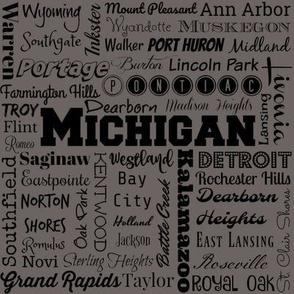 Michigan cities, dark gray