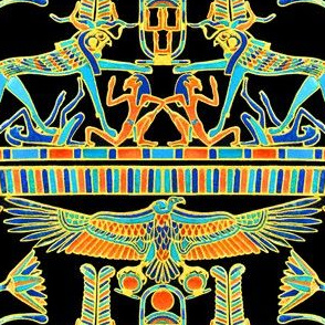 ancient egypt egyptian pharaoh king sun griffin gryphons vultures birds flowers lily lilies