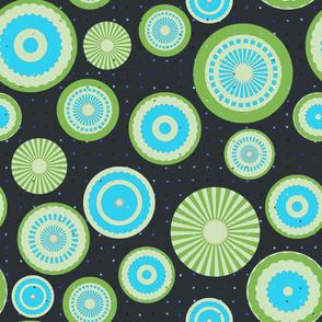 Pastel circles (green and blue)