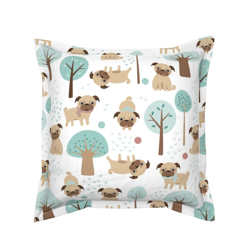 Serama Throw Pillow featuring pugs  in the park by heleenvanbuul