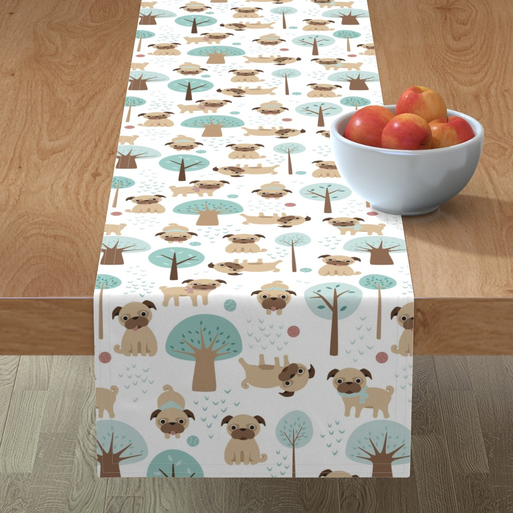 Minorca Table Runner featuring pugs  in the park by heleenvanbuul