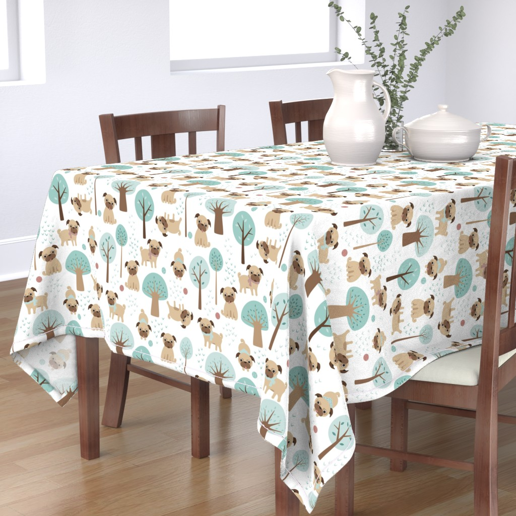 Bantam Rectangular Tablecloth featuring pugs  in the park by heleenvanbuul