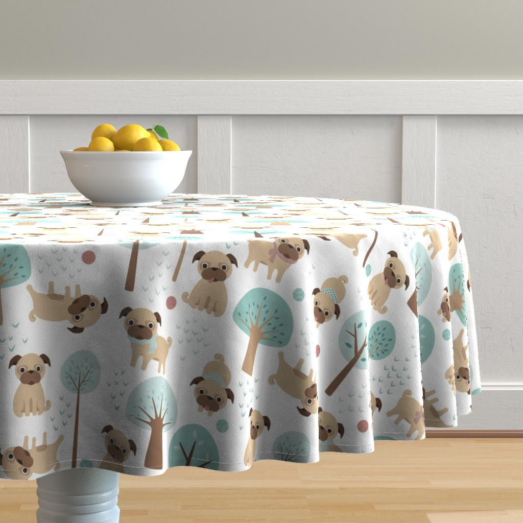 Malay Round Tablecloth featuring pugs  in the park by heleenvanbuul