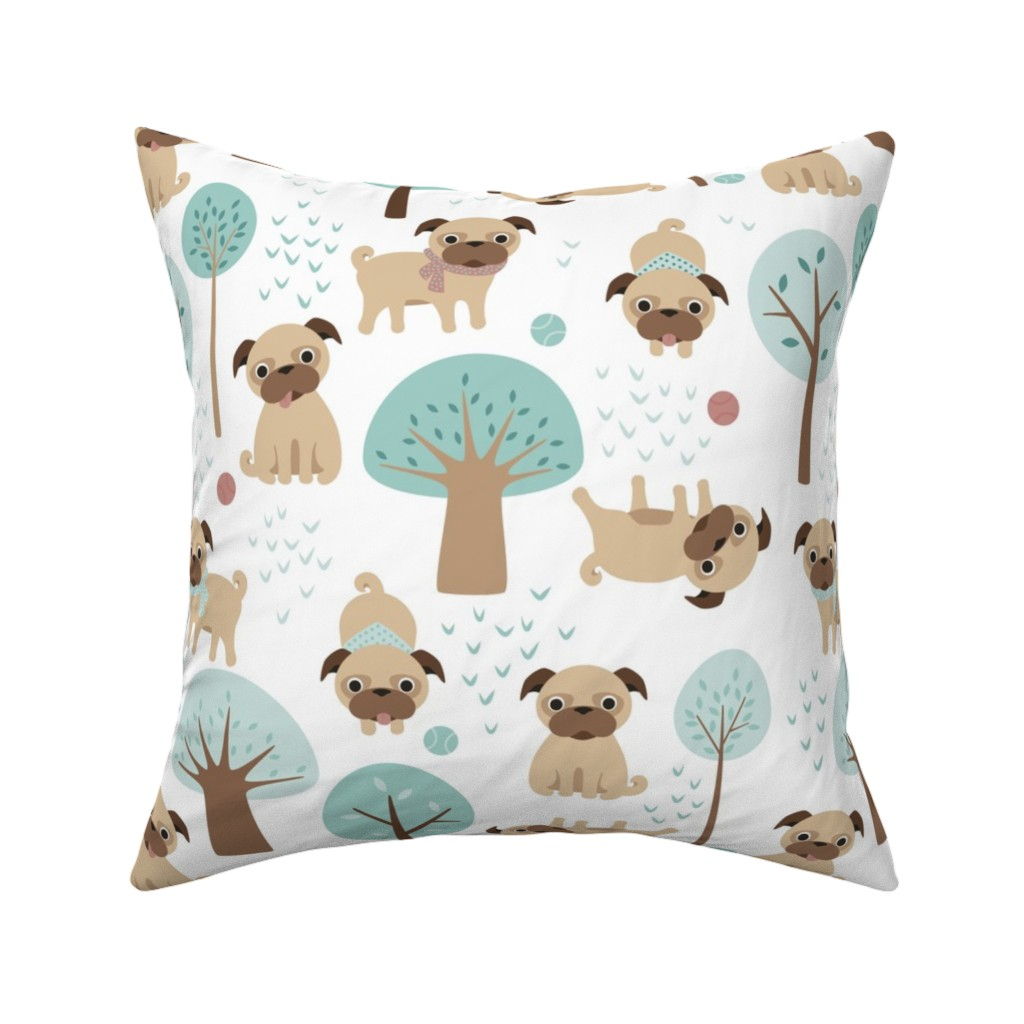 Catalan Throw Pillow featuring pugs  in the park by heleenvanbuul