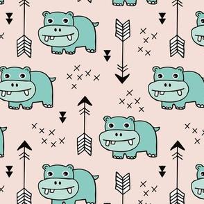 Cute little baby hippo kids fabric design in mint