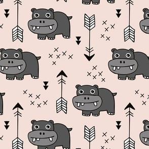 Cute little baby hippo kids fabric design in beige