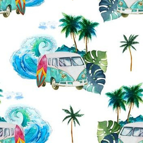 """7"""" Summer Road Tripping Palm Leaves White"""