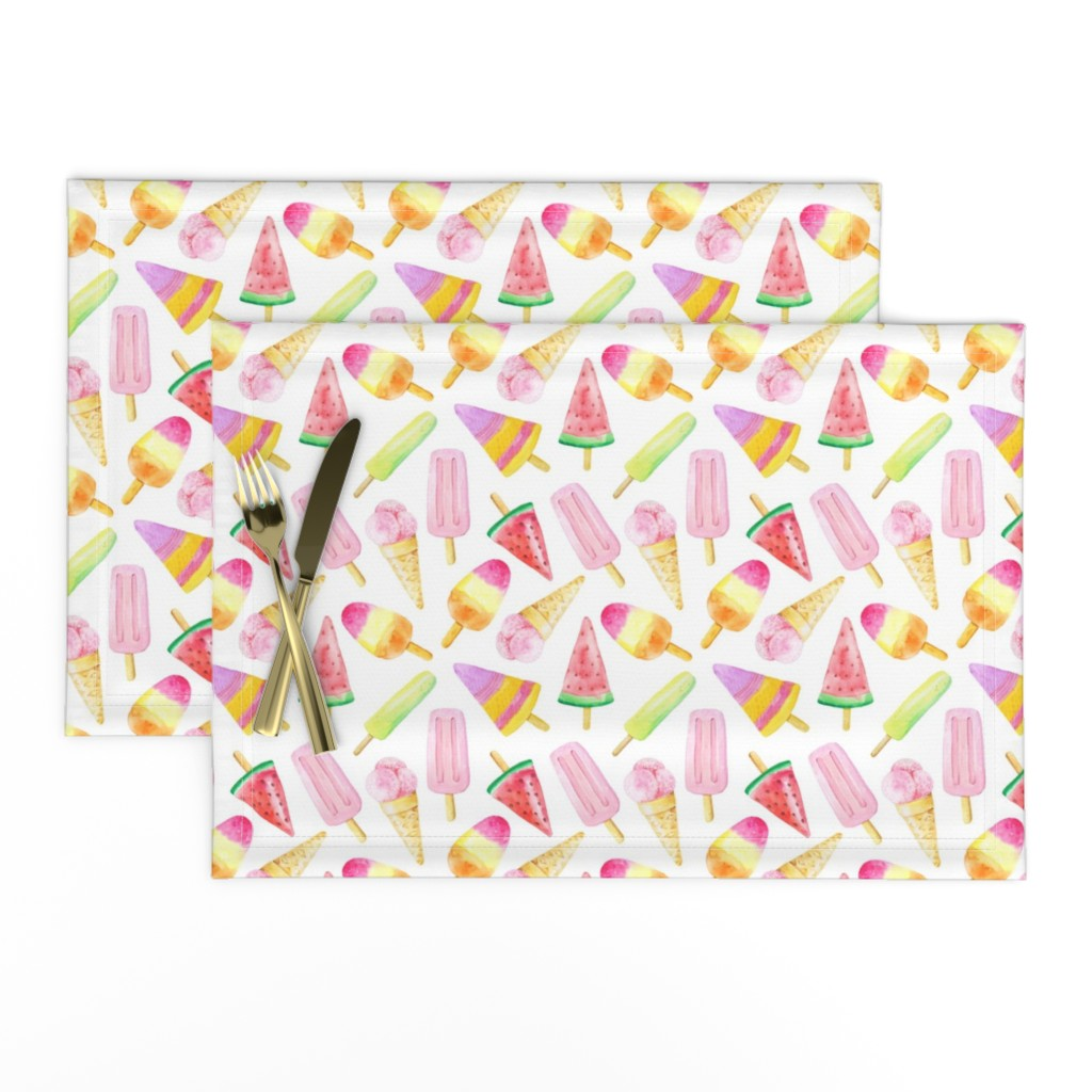 Lamona Cloth Placemats featuring Watercolor Fruit Ice Cream by hipkiddesigns