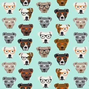 pitbull in glasses - cute dogs pitty fabric pitbull dog design - mint