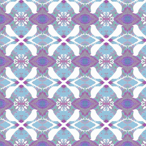 Birds on Faded Lavender Blue
