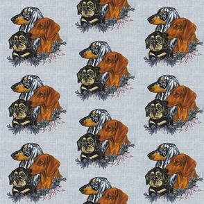 dachshund dogs on linen