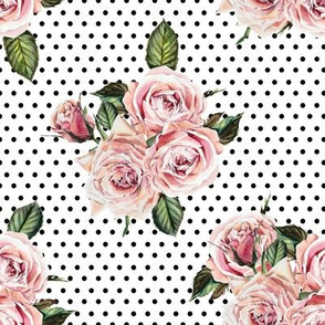"""8"""" Wild Child Roses - White with Black Polka Dots"""