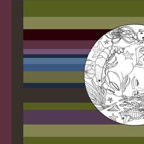 Drawstring stripe background linen cotton canvas circles underwater 1
