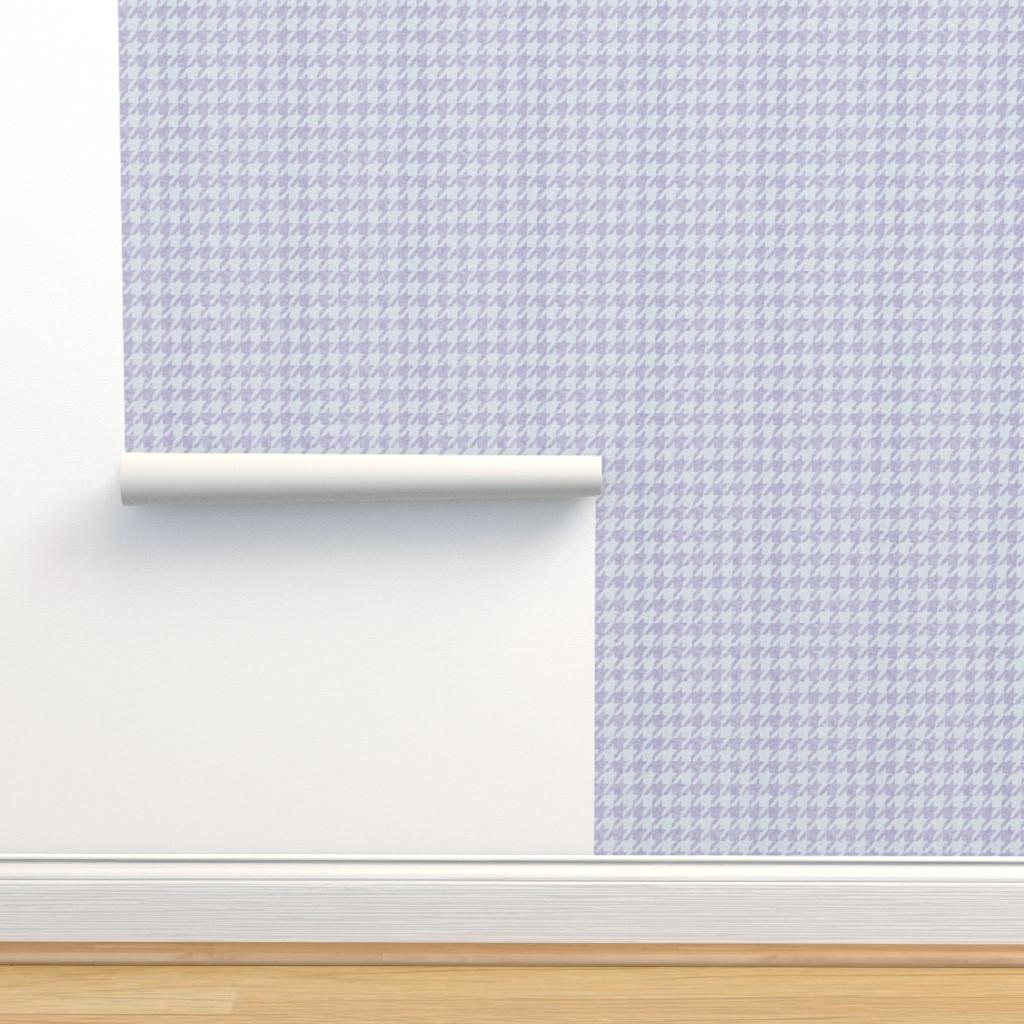 Isobar Durable Wallpaper featuring le parc houndstooth (mauve)  by nouveau_bohemian