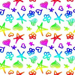 Rainbow Doddles on White