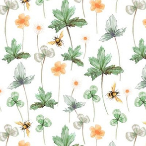 Meadow with Bees, White // large