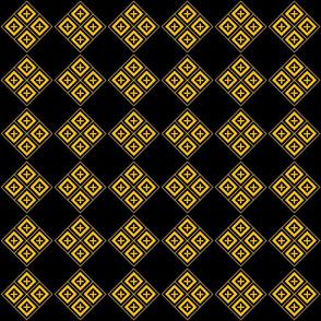 Tiled Diamond Crosses Gold on Black