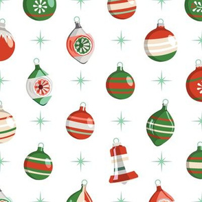 Adorn* (Reds & Greens on White) || Christmas ornaments holiday vintage mercury glass shiny brite star stars atomic midcentury