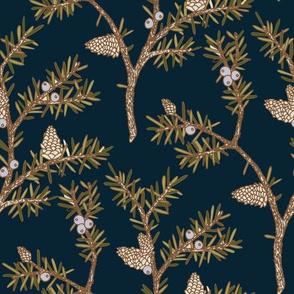 Evergreen Pinecones and Berries Dark Blue