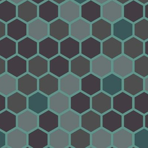 18-7AX Hexagon Dots Gray Green Blue Jade