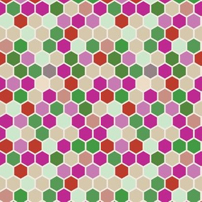 18-7AW Hexagon red pink lilac purple rose  mint green beige