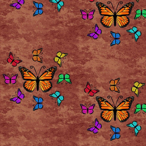 Butterfly Color Palette - Brown, Butterfly Color Wheel on Brown Granite