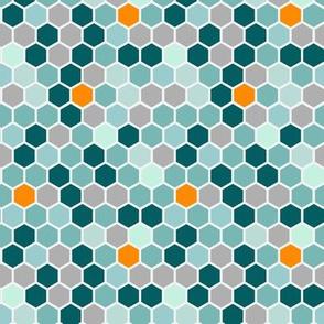 18-7AS Hexagon Teal Gray Grey Orange Blue  Hexagon Dot