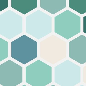 18-7AR  Hexagon Dots Green Blue Cream