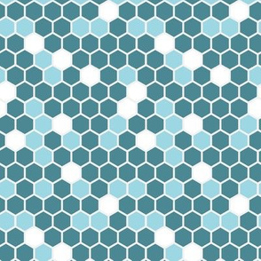 18-7AQ Hexagon Blue Teal Sky White Gray