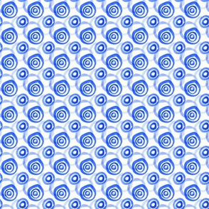 Bright Blue Watercolor Circles