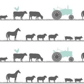 farm animals on parade - dark mint and grey