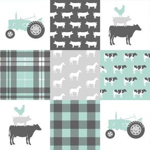 farm wholecloth - dark mint and grey