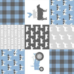 farm life - wholecloth- blue and grey (90)