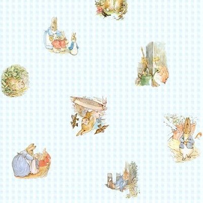 Peter Rabbit Tossed Characters - Ice Blue - Small scale