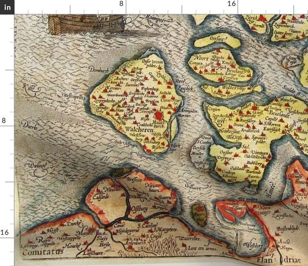 Fabric by the Yard 1580 Map of Zeeland (42