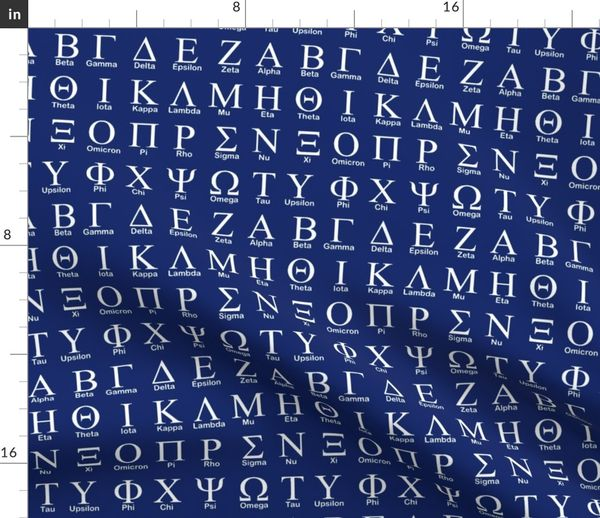 Fabric by the Yard Greek Alphabet // Dark Blue