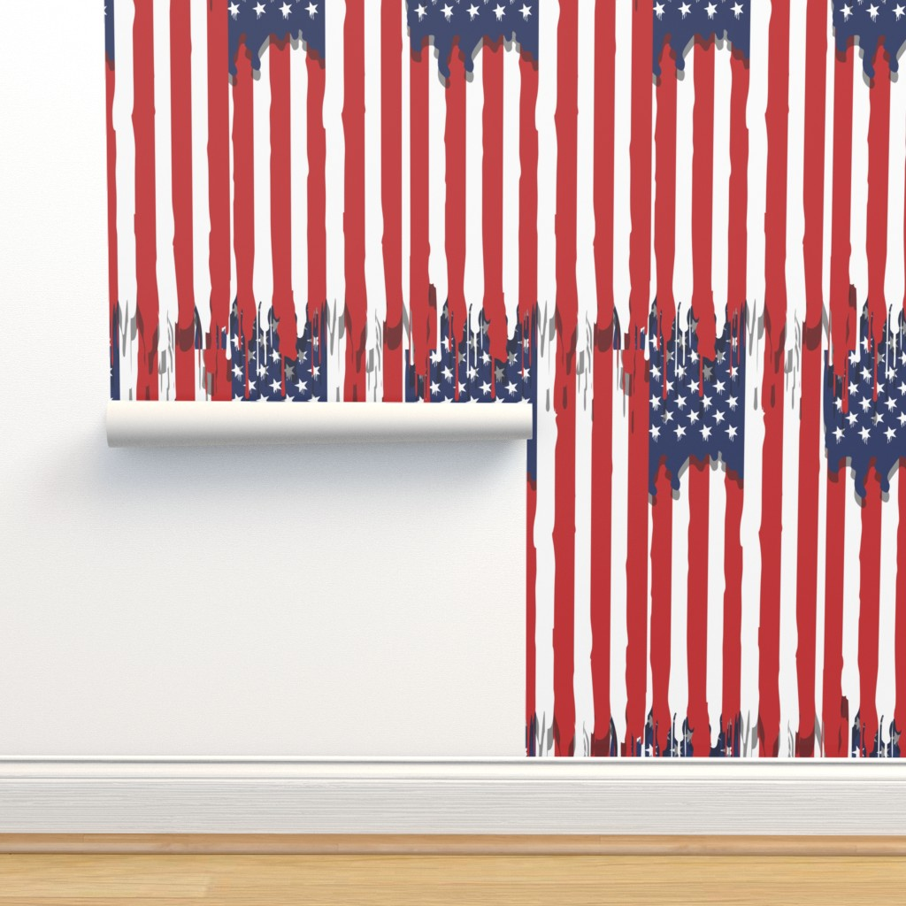 Dripping American Flag On Isobar By B0rwear Roostery Home Decor