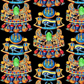ancient egypt egyptian pharaoh sun cobras snakes goddesses scarab beetles flowers lily lilies lotuses eyes horus king Udjat thoth king gods Wadjet gold rainbow colorful wings